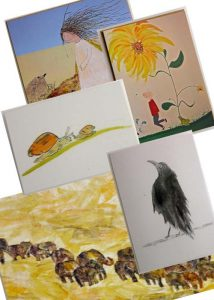 Greeting Card pack for sale, set of 5 cards with artwork by Liliana Stafford