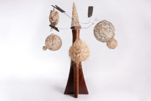 Mobile -fibre and driftwood carousel