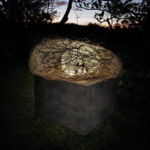 Earth pod ( fiibre,willow,roots, mud balls)on aluminium base